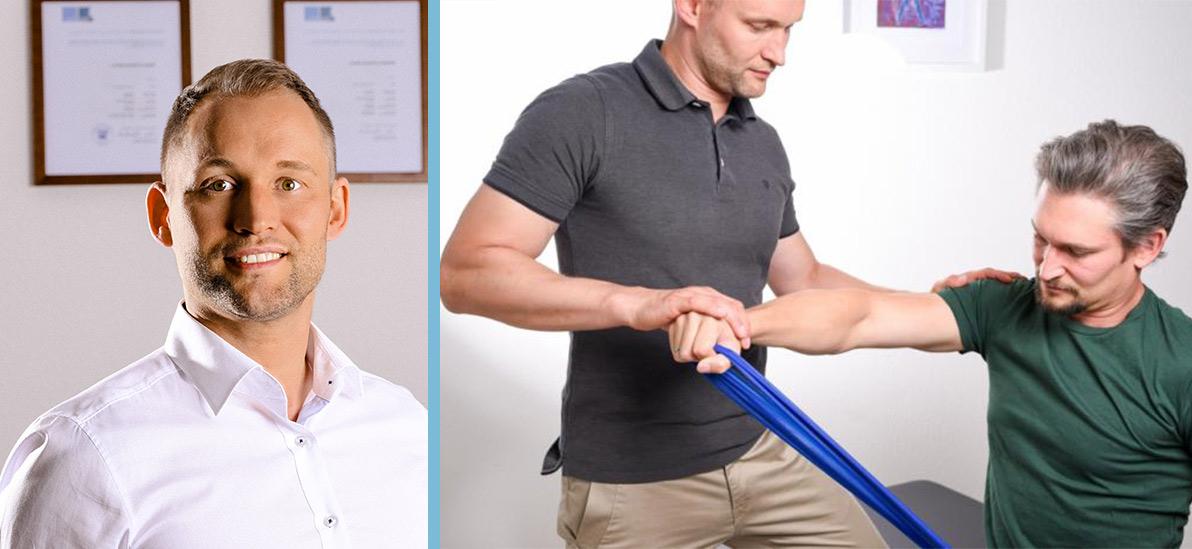 Zu sehen ist Hanno Krafft - links im Portrait und rechts bei der Arbeit mit einem Klienten.