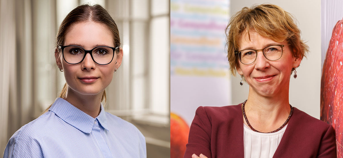 Zu sehen sind (links) Noemi Skarabis und (rechts) Prof. Dr. Gudrun Faller.