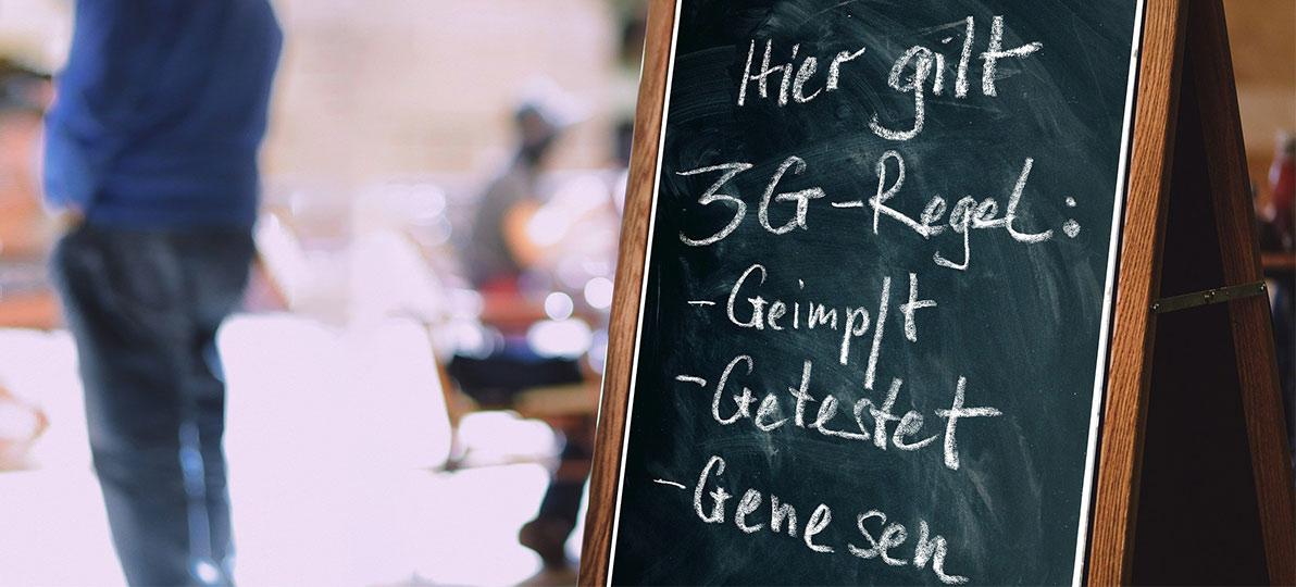 Das Bild verweist auf die 3G-Regel.